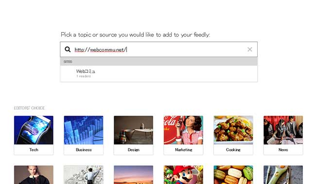 Pick a topicor source you would like to add to your feedly