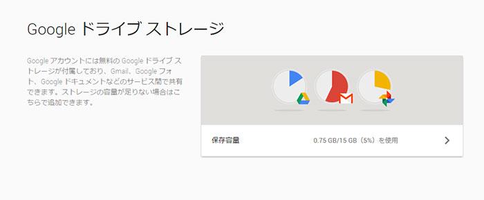 Google ドライブ ストレージ