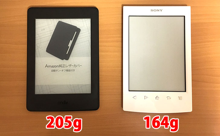 「Kindle Paperwhite」と「ソニー・リーダー」の本体重量比較