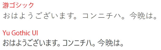 游ゴシックとYu Gothic UIの比較